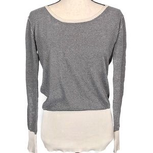 HURLEY Striped Scoop Neck Long Sleeve Sweater Top